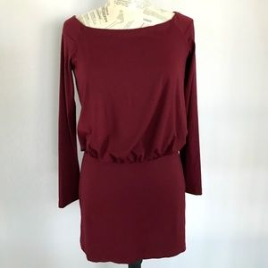 SUSANA MONACO Maroon LS Fitted Dress M NWT